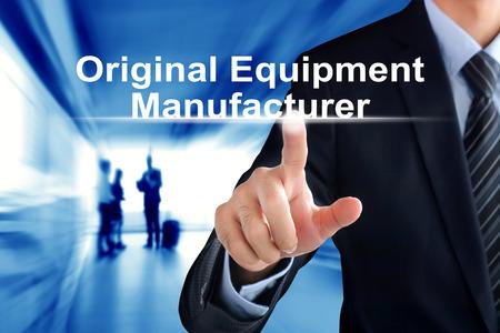 가상 화면에서 Original Equipment Manufacturer (또는 OEM) 텍스트를 터치하는 사업가 손 스톡 콘텐츠 - 43626363