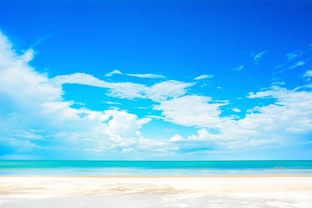 white sand beach: White sand beach, blue sea and sky in summer Stock Photo