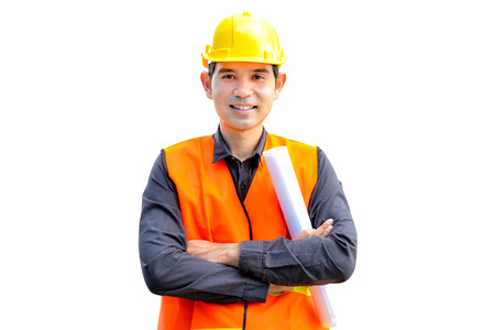 Asian architect or engineer wearing safety vest and hard hat (or helmet) - isolated on white background