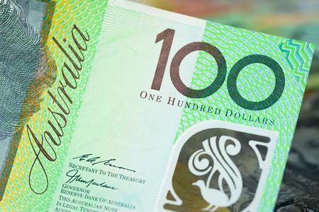 australian dollar notes: Close up of 100 Australian dollar (AUD) banknote