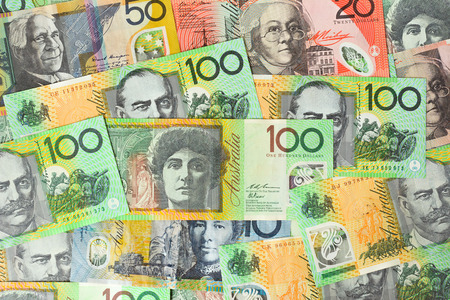 currencies: Various kinds of Australian dollar (AUD) banknotes - money background concept