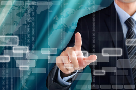 screen: Businessman hand touching empty virtual screen - modern and high tech business background concept Stock Photo