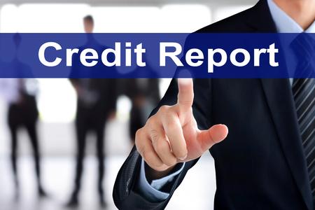 tab: Businessman hand touching Credit Report tab on virtual screen Stock Photo