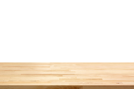 Empty wood table top on white background - can be used for display or montage your products