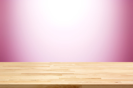bright colors: Wood table top on white and pink gradient abstract background - can be used for display or montage your products