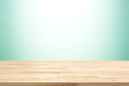 Wood table top on white and green gradient abstract background - can be used for display or montage your products