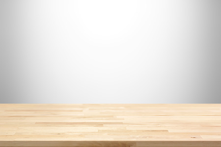Wood table top on white gray gradient abstract background - can be used for display or montage your products Imagens