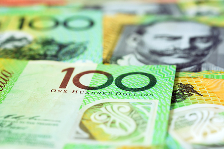 one hundred dollars: Money,  Australian dollar (AUD) banknotes Stock Photo