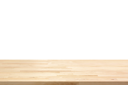 Wood table top on white background - can be used for display or montage your products Foto de archivo