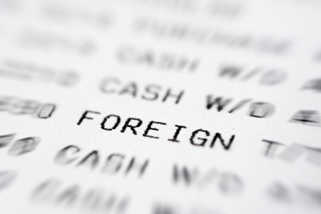 bank statement: Text on bank statement paper, focused on the word FOREIGN