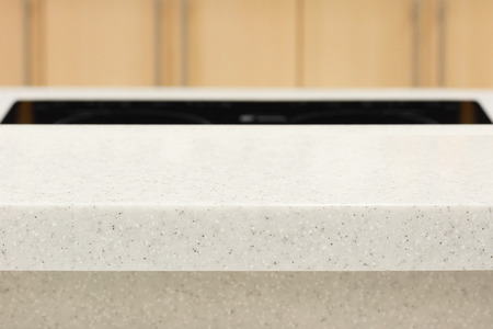 kitchen island: Quartz stone countertop as kitchen island - can be used for display or montage your products