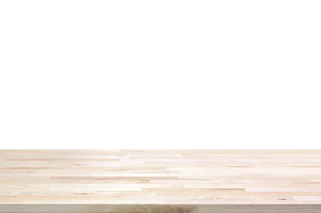 Wood table top on white background - can montage or display your products on top