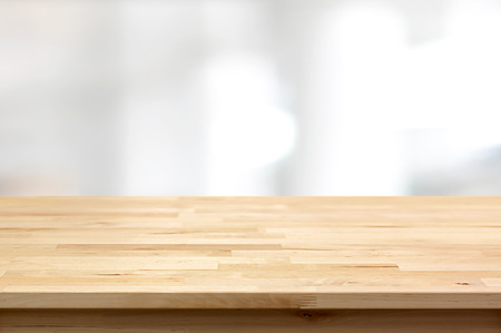 Wood table top on blur white gray abstract background - can be used for display or montage your products Imagens