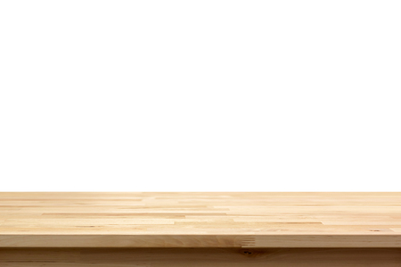 Wood table top isolated on white background - can be used for display or montage your products Stok Fotoğraf - 45616513
