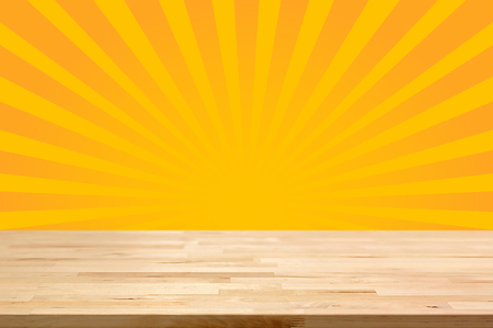 rays: Wood table top on yellow sunburst (or radiating) background - can be used for display or montage your products