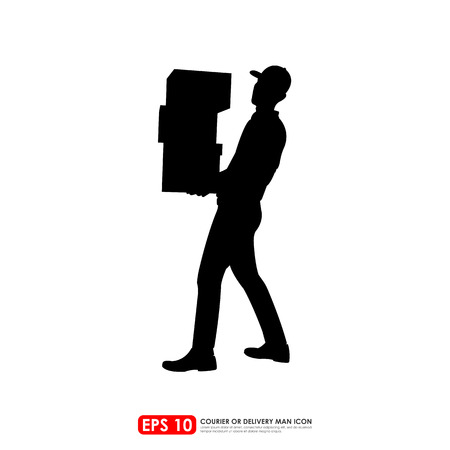 weighty: Silhouette of deliveryman carrying stack of boxes