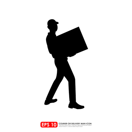 man carrying box: Silhouette of deliveryman carrying a box - isolated on white  background