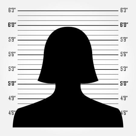 criminal: Silhouette of  anonymous woman in mugshot or police lineup background