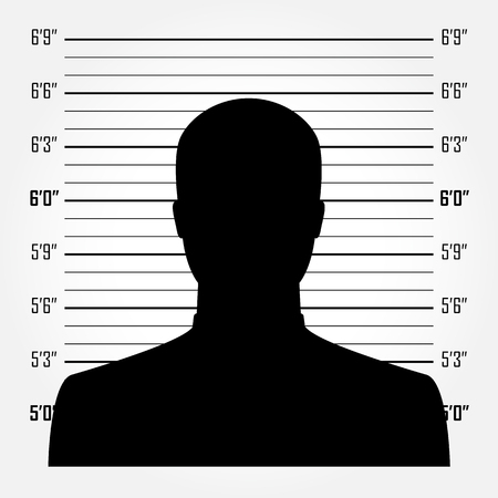 Silhouette of  anonymous man in mugshot or police lineup background