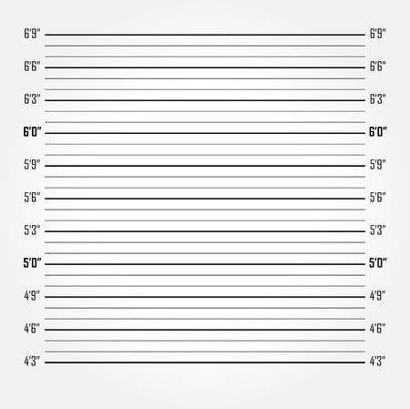 白い警察のラインナップや mugshot のベクトルの背景 (インチ単位)