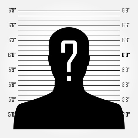 mug shot: Silhouette of  anonymous man with question mark in mugshot or police lineup background