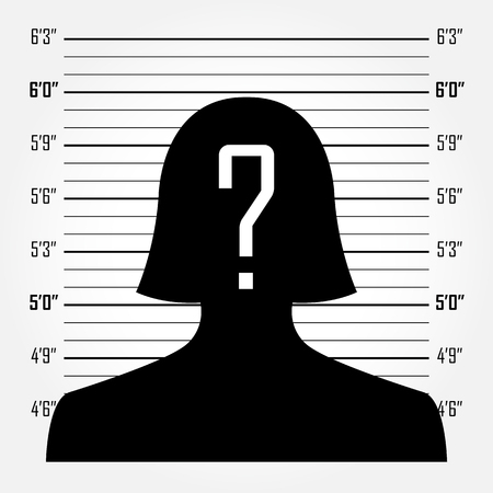 criminals: Silhouette of  anonymous woman with question mark in mugshot or police lineup background