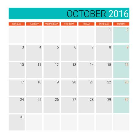 październik: October 2016 calendar (or desk planner)