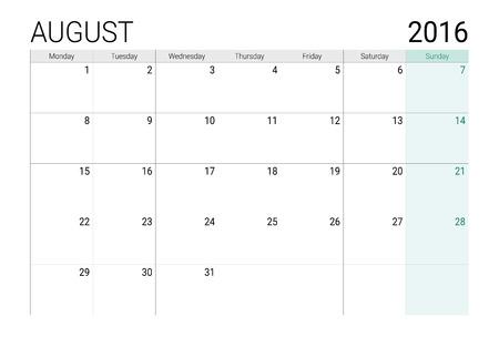weekly planner: August 2016 calendar (or desk planner)