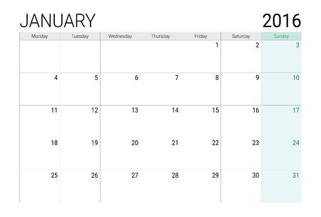 planner: January 2016 calendar (or desk planner) Illustration