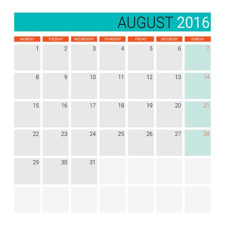 desk calendar: August 2016 calendar (or desk planner)