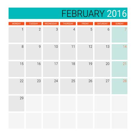 desk calendar: February 2016 calendar (or desk planner)