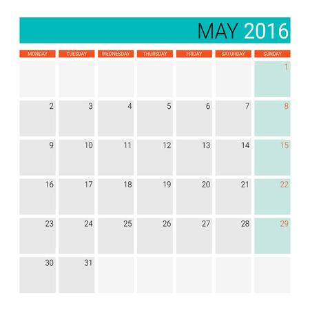 desk calendar: May 2016 calendar (or desk planner) Illustration