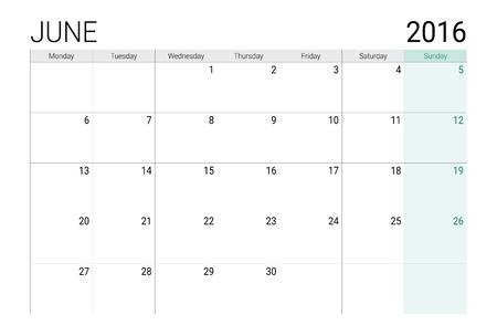 june: June 2016 calendar (or desk planner)