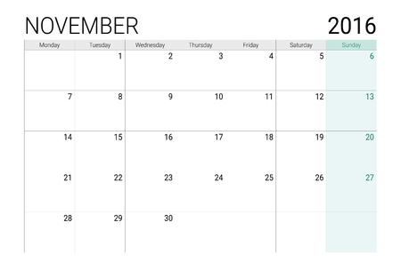 desk calendar: November 2016 calendar (or desk planner)