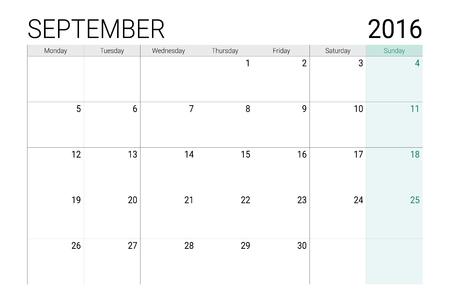 planner: Septemper 2016 calendar (or desk planner) Illustration