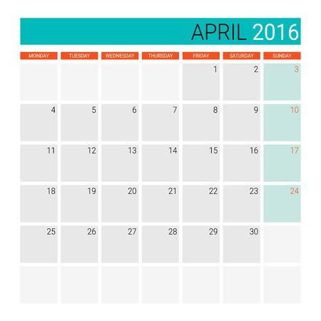 april: April 2016 calendar (or desk planner) Illustration