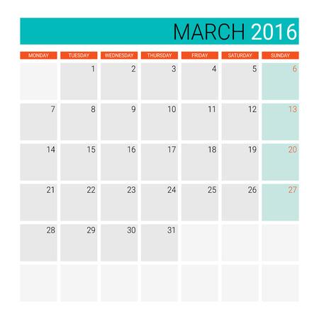 planner: March 2016 calendar (or desk planner) Illustration