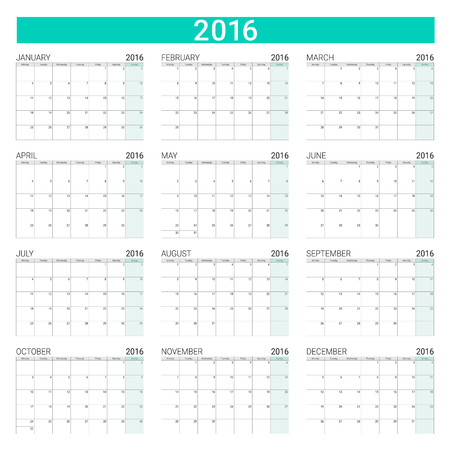 months of the year: 2016 calendar