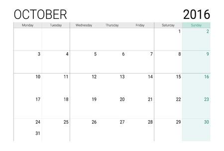 desk calendar: October 2016 calendar (or desk planner)