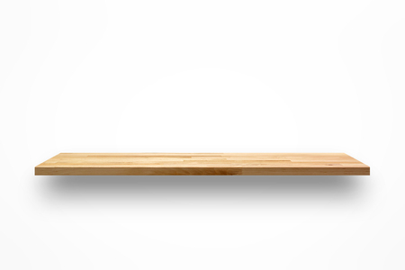 Empty wooden wall shelf on white background Imagens