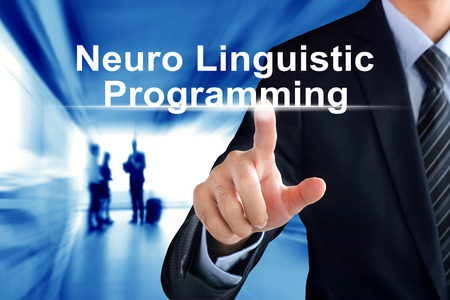 neuro: Businessman hand touching  Neuro Linguistic Programming (or NLP) sign  virtual screen Stock Photo