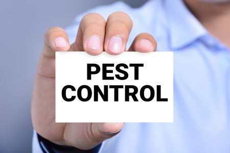 exterminate: A man showing PEST CONTROL message on the card Stock Photo