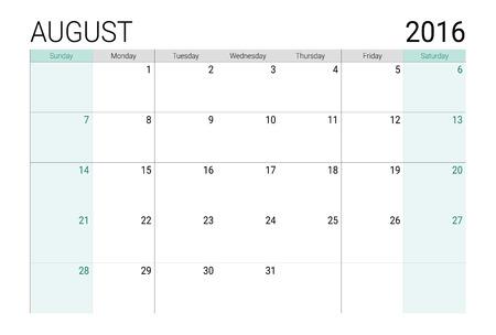 weeks: August 2016 calendar (or desk planner), weeks start from Sunday