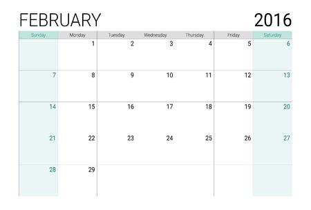planner: February 2016 calendar (or desk planner), weeks start from Sunday Illustration