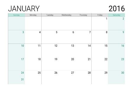 weeks: January 2016 calendar (or desk planner), weeks start from Sunday Illustration