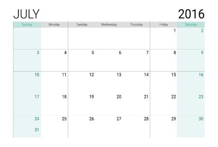 planner: July 2016 calendar (or desk planner), weeks start from Sunday Illustration