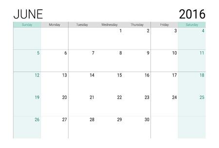 weeks: June 2016 calendar (or desk planner), weeks start from Sunday