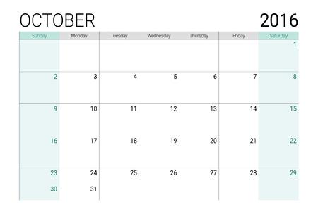weeks: October 2016 calendar (or desk planner), weeks start from Sunday Illustration