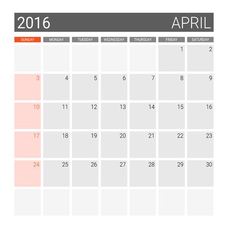 weeks: April 2016 calendar (or desk planner), weeks start from Sunday