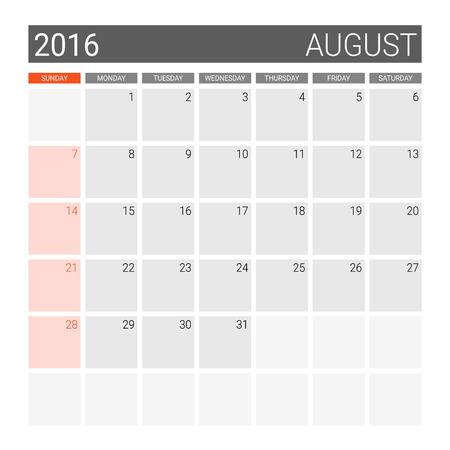 planner: August 2016 calendar (or desk planner), weeks start from Sunday